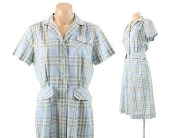 Vintage 40s American Golfer Dress Plaid Short Sleeve Dress Spring Summer Fashion Frock 1940s Large L Rockabilly Dress Day Dress
