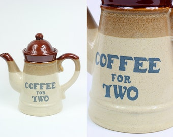 Coffee for Two • stoneware coffee kettle 70's retro