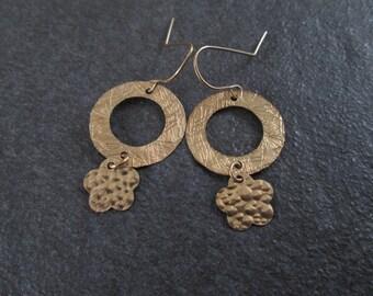 Dainty earrings, gold filled earrings , circle earrings , flower earrings , jewelry gift , everyday jewelry, gift for her