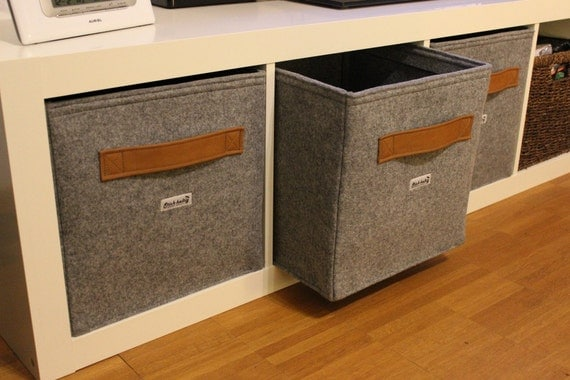 light grey felt boxes fit into ikea expedit and kallax felt. Black Bedroom Furniture Sets. Home Design Ideas