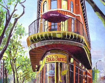 """Painting Print. """"Pickle Barrel"""" 11""""x16"""". Downtown Chattanooga. 2013"""