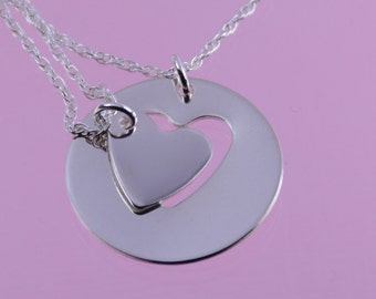 Mother daughter gift, Mother daughter heart necklace set, Sterling silver necklace, Mother daughter heart cutout necklace set