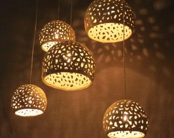 White pendant light. Ceramic Lamps. Chandelier ceiling lighting.  Dining room lighting. Cluster pendant light.