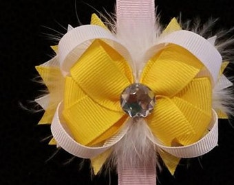 Yellow and White Feather Hair Bow