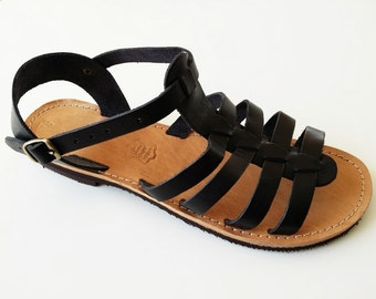 Women Gladiator Black Leather Sandals - Handmade Gladiator Sandal - Greek Sandals
