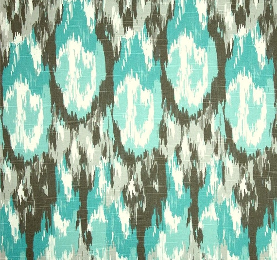Ikat Fabric Aqua Blue Brown Home Decor Fabric By By