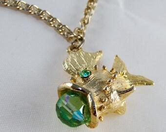Whimsical Vintage Jeweled Goldfish Necklace