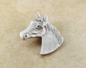 Horse Head Metal Buttons 19mm Antique Silver Qty 3