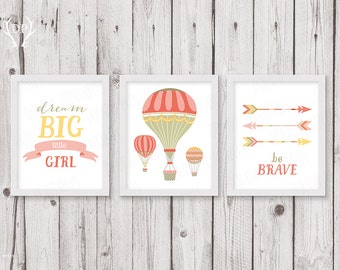 Hot air balloons | Print art | Nursery wall art | Dream big little girl | Be brave | Baby girl pink cream room decoration | Instant download