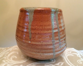 Handmade Ceramic Shino and Celedon Vase
