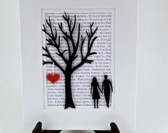 Personalized Wedding Lyric Art, 3D Paper Tree Wedding or Engagement Gift, First Year Anniversary Gifts, Wedding Vows Gift, Wedding Vows Art