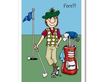 Golfer Birthday Card, Funny Birthday Card, Birthday card for men, Golf Course card, Golfer with golf clubs