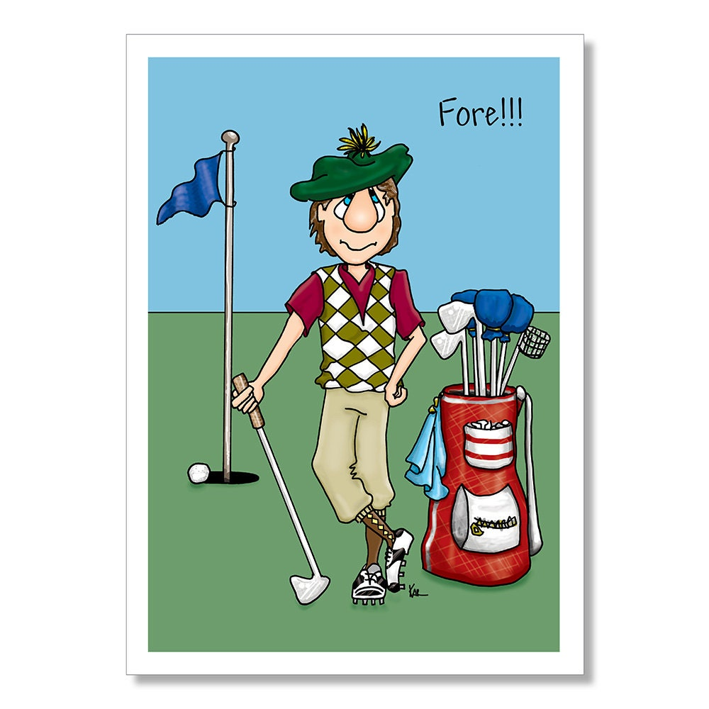 Golfer Birthday Card Funny Birthday Card Birthday card for – Birthday Cards Golf