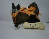 Primitive Cat and Pumpkin - Shelf Sitter, Whiskers, Window hanger, Sculpting
