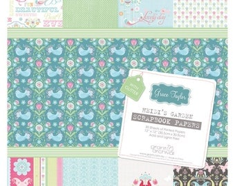 Grace Taylor 12x12 Printed paper pad. Heidi's Garden. 30 pages.  Acid and lignin free.   (50% off, was 12.99)