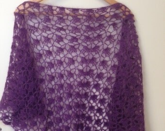 Mohair purple shawl that is like a cloud on your shoulders.
