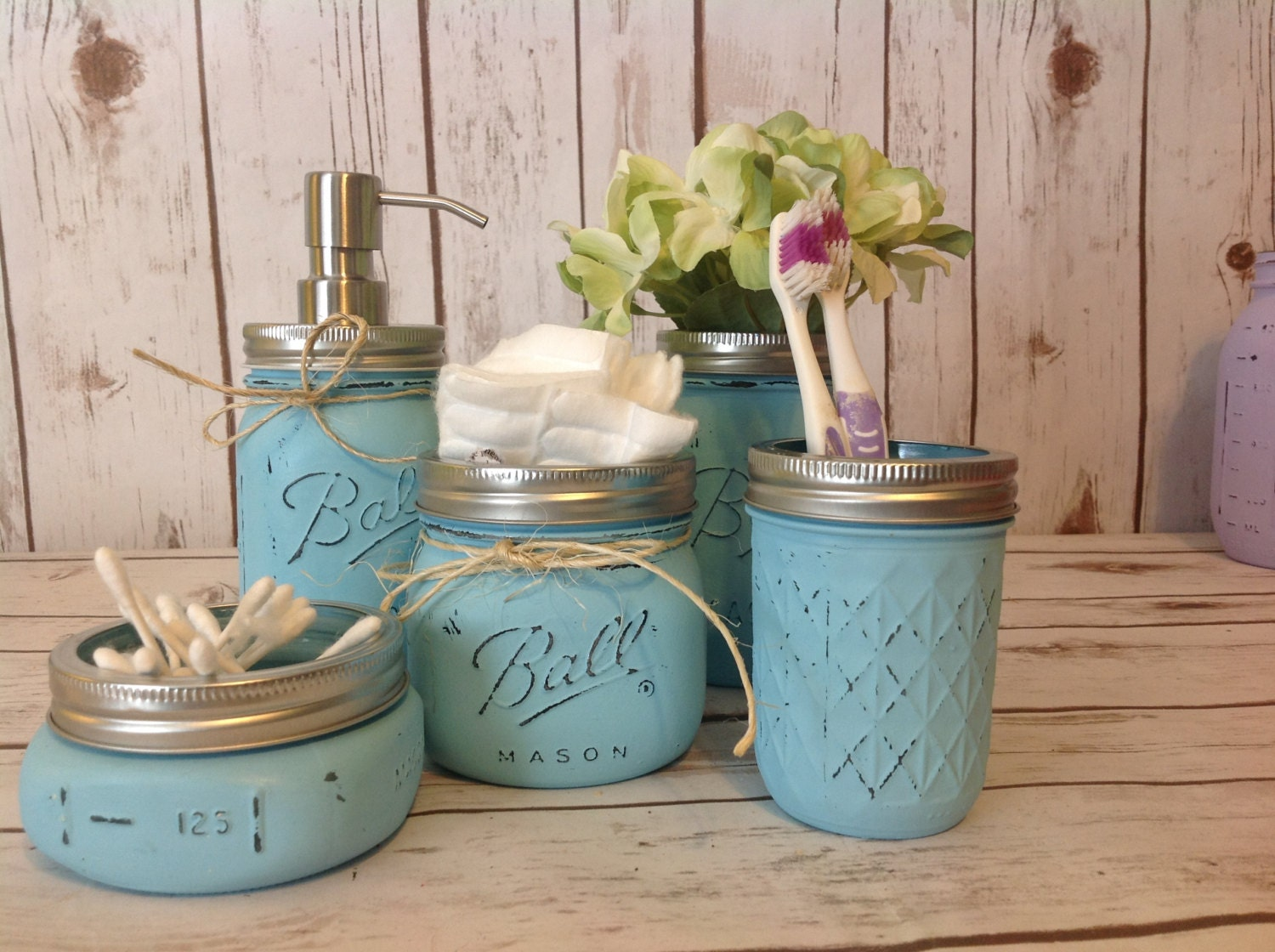 Mason jar bathroom kit bathroom farmhouse decor by for Bathroom decor mason jars