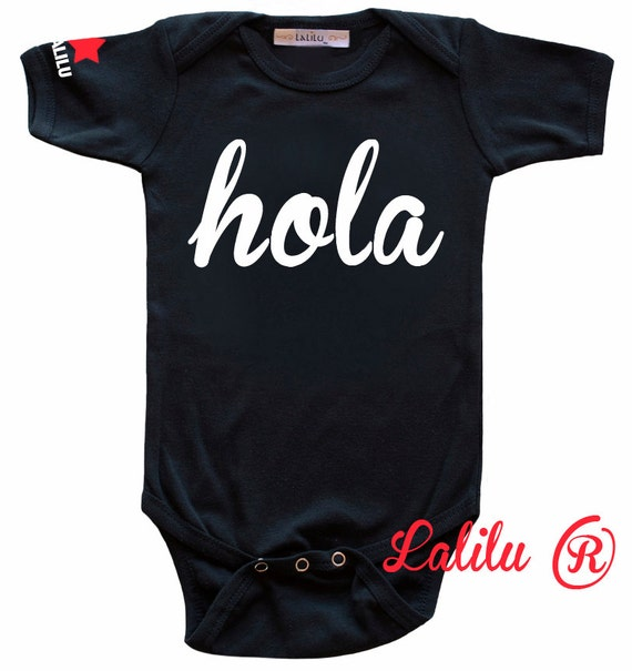 HOLA Baby Onesie, Black Short Sleeve Bodysuit, Baby Boy, Baby Girl, Baby and Toddler, Hipster Baby,Made by Lalilu