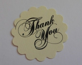 Scalloped off white, cream ivory thank you tags