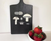 CLEARANCE! - Vintage 1970s Black Hand-painted Cutting Board with Mushrooms Toadstools