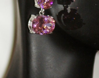 Ref.28/  ~SALE~~Stunning pink swarovski silver earrings.