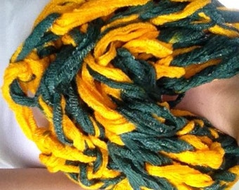 Double Thick Arm-Knit Green and Gold Shimmer Infinity Scarf // Green Bay Packers Scarf // Baylor Scarf // Packers Infinity // Alaska Scarf