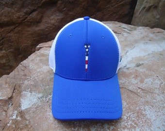 Men's Trucker Golf Hat Royal Blue with Embroidered USA Flag Tee Design | Great Golf Gift Item