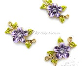 "10 pcs Cute Flower Connectors, Purple Flower and Green Leaves, Zinc metal alloy(Cadmium Free), Approx:20mm x 13mm( 6/8""x 4/8"")"