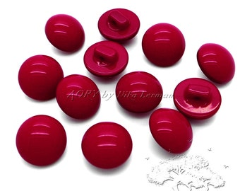 12 pcs Dark Red Smooth Buttons 15mm