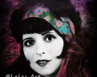 Vintage painting Clara Bow Silent movie star Actress Flapper girl 1920s style art Retro style art  The great Gatsby Movie star