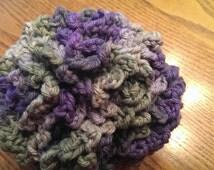 Bath Puff - Bath Loofah - Crochet Loofah Sponge - Crochet Puff  - Crochet 100% Cotton Pouf  - Bath Sponge - Colorful Loofah - Purple Green