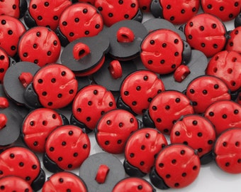 100 Pcs Red ladybug DIY Kid's appliques/craft/sewing buttons PT64