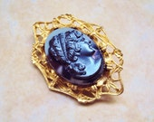 Vintage Cameo Brooch, Gold Tone Brooch, Cameo Pin, Grey Woman Face, Gift Box Included !