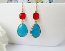 Red and blue earrings, gold earrings, blue earrings, blue drop earrings, blue and red wedding