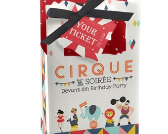 Circus / Carnival Favor Boxes - Vintage Circus Party Favor Bags - Set of 12