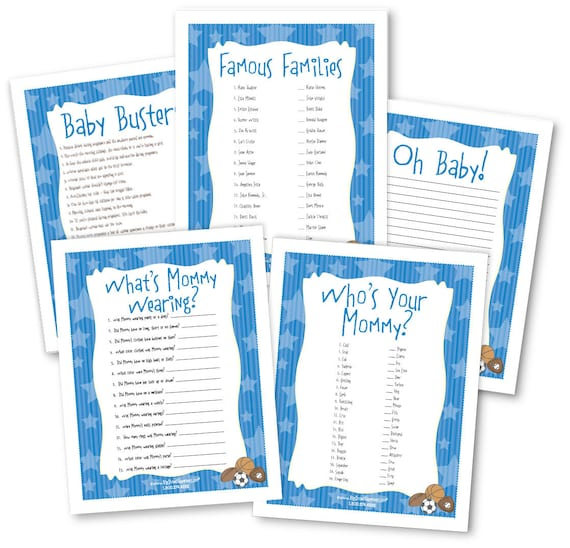 all star sports baby shower game pack 5 instant download print