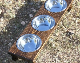 Small Three-3/4qt Bowls Raised Dog Feeder, MADE TO ORDER 3,4,5,or 6 Inches Tall, Various Tints, Cat Dish Holder, Cat bowls, Small Dog Size