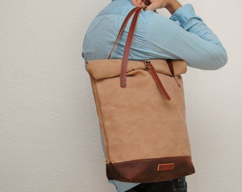 roll top Tote bag waxed canvas, sand/chocolate color ,with leather handles and closures,hand wax