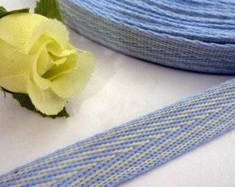 "Light Blue with White Stripe Herringbone Ribbon Twill Tape 3/8"" 1cm width TR1"