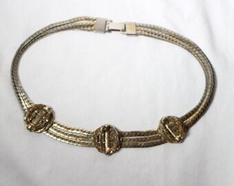Art Deco Triple Strand Chain Necklace
