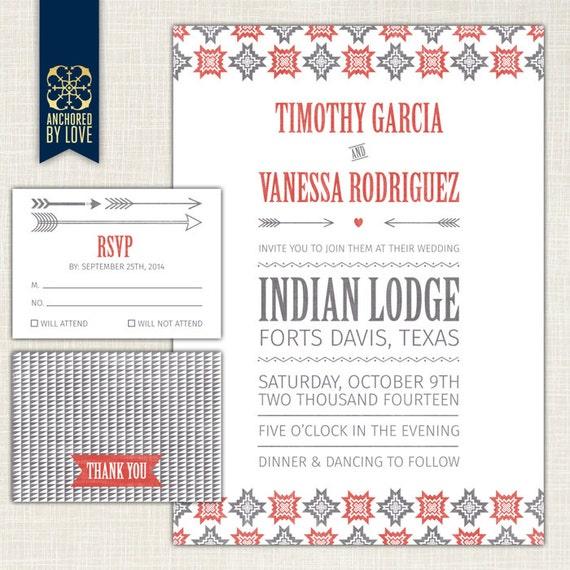 "Native American Wedding Invitations: Items Similar To Wedding Invitation ""Native American"