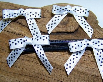 Black and White Poka Dot bow bobby pin and Earring set