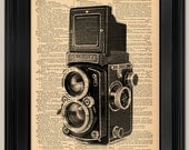 "Rolleiflex Camera book page print. Father's Day Gift for Dad. Vintage book page art print. Print on book page.  Fits 8""x10"" frame."