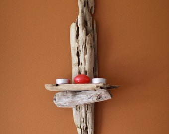 Driftwood Candle Wall Sconces : Items similar to SOLD Driftwood wall sconce candle holder rustic waxed and polished wood church ...