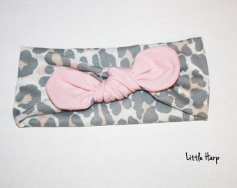 Pink Leopard Turban Headband with Knotted Bow