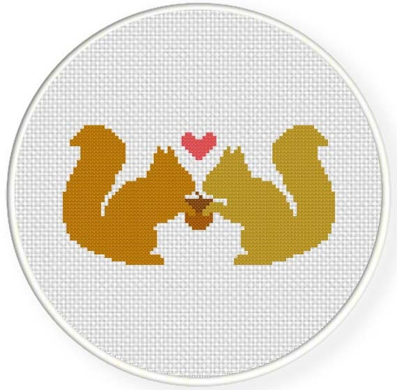 SALE Stitch Squirrel Love PDF Cross Stitch Pattern Needlecraft