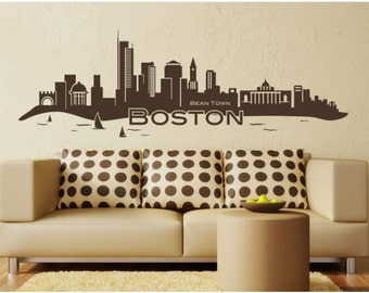 Boston Skyline wall decal, sticker, mural, vinyl wall art