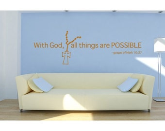 With God religious wall decal, sticker, mural, vinyl wall art