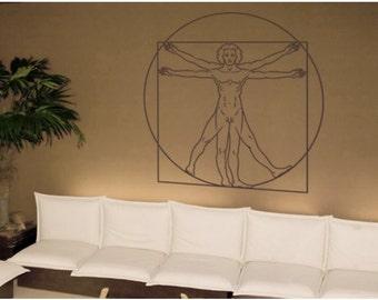 Da Vinci - Vitruvian Man deco wall decal, sticker, mural, vinyl wall art