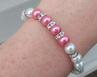 White and Hot pink Bracelet, Wedding Bracelet, Bridesmaid Bracelet